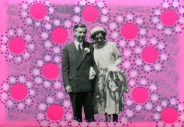 Collage created on a couple portrait and decorated with dotty neon pink stickers and pens.
