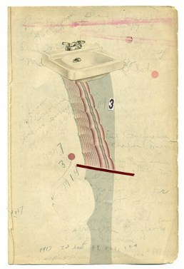 Collage of a sink putted over a vintage written paper.
