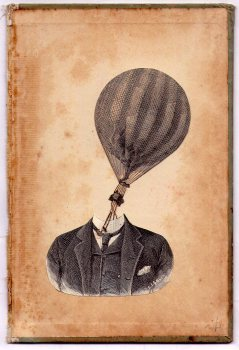 Man portrait with a hot air balloon head.