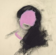 Drawing of a faceless female portrait.