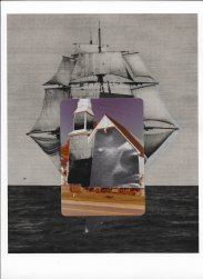 Collage of a sailing ship picture covered with another picture.
