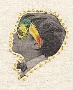 Vintage kid portrait with an intricate hand stitched nature inspired decoration over his eyes.