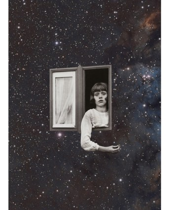 Girl showing out of a window surrounded by the galaxy.