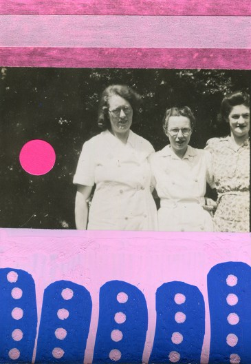 Vintage women photo outdoors decorated with neon pink and pastel pink mixed media materials and electric blue pens.