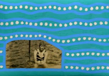Vintage woman photo in the sea manipulated with dotty beige and greed pens.