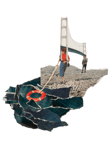 Couple holding a giant bridge on their shoulders.
