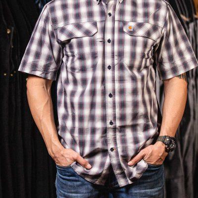Force Men's Relaxed-Fit Lightweight SS Button-Front Plaid Shirt (Bluestone)