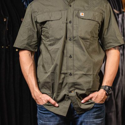 Force Men's Relaxed-Fit Lightweight SS Button-Front Plaid Shirt (Peat)