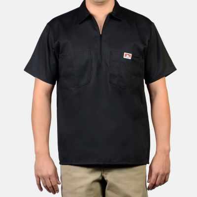Short Sleeve Solid, 1/2 Zip (Black)