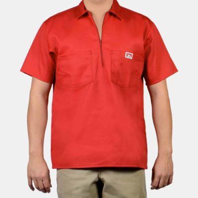 Short Sleeve Solid, 1/2 Zip (Red)