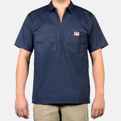 Short Sleeve Stripe, 1/2 Zip (Navy)
