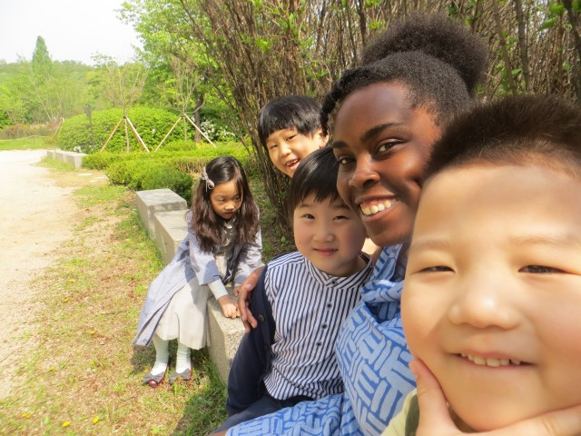 Julia, WonJun, Jason, and Joe waiting in the cue for their school pictures...we took some of our own! April 28, 2016
