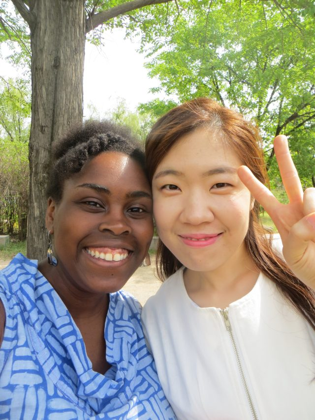 My awesome Korean co-teacher, Ms. Kelly, and me, March 28, 2016