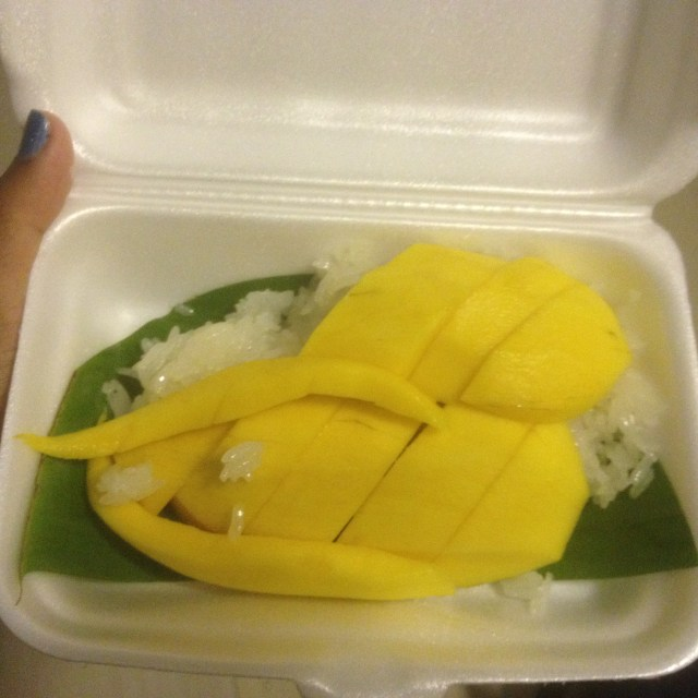 Sweet mango with sticky rice. I forgot to pour the coconut sauce over it, but it was so delicious, I didn't need it! July 30, 2016