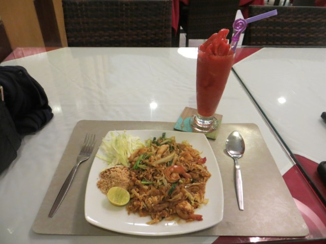Delicious Pad Thai with strawberry smoothie, July 27, 2016