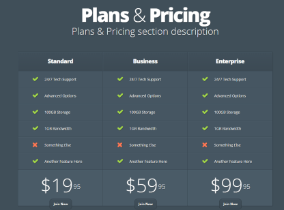 Nimble- Supports several shortcodes. One of this is pricing table