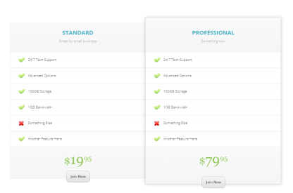 Pricing Table in Fable