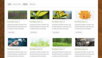ECOBIZ- Portfolio layout with 4 columns and filter tabs