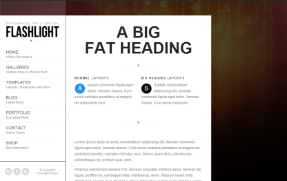 Flashlight- A page template with Big heading and menubar at left