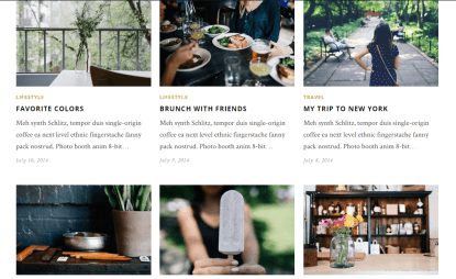 Hemlock- Grid layout of blog with large thumbnail featured images and some text display.