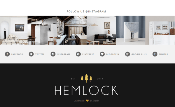 Hemlock- Instagram slider is integrated and supports a simple layout of footer with social icons