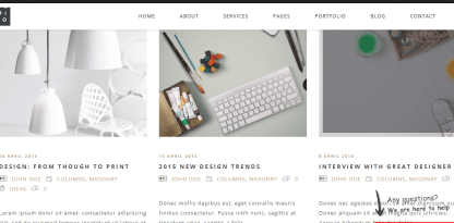 London Creative+ theme's Blog page with columns