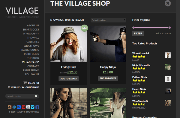 Village- Shop page design of this theme is elegant