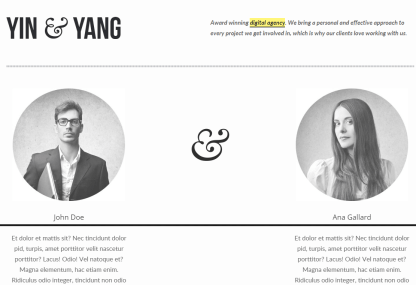 Yin & Yang- About page built with elements