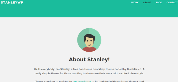 About us page of Stanley WP theme