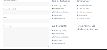 Care_contact page for any type of queries to patients.