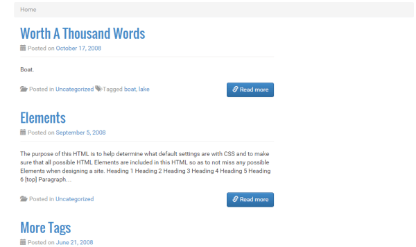 Home page of WP knowledge based theme