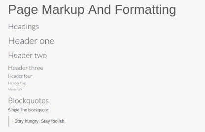Markup and Formatting