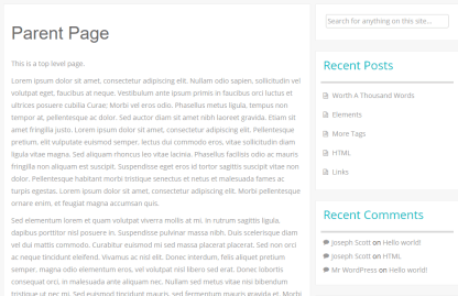 Parent page of Inkness theme with Right sidebar.