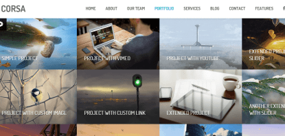 Corsa- Porfolio page with upto 4 columns and amazing hovering effects