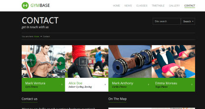 GymBase - Contact Page of your Fitness gym
