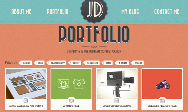 Portfolio page of Retro theme