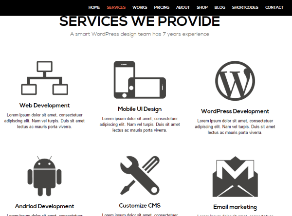 SimpleKey- Services page created with elements of Visual Composer Plugin