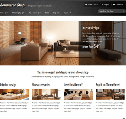 Sommerce Shop- Front page designed with beautiful images and 4 columns