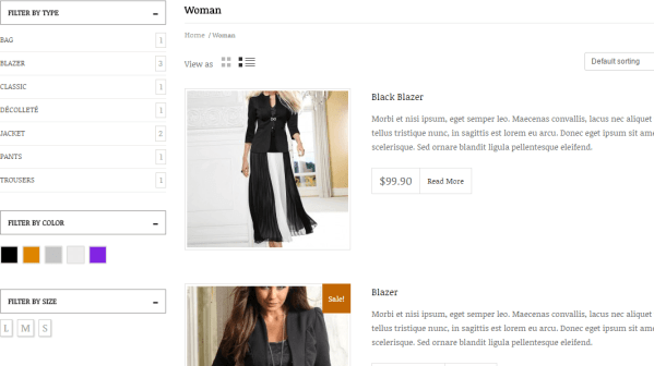 Boemia- Two product views are grid and list view
