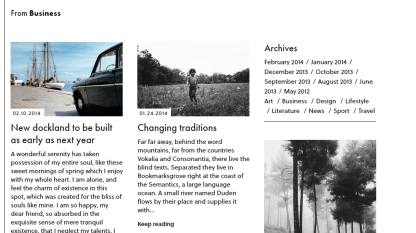 Business page of Oxford theme