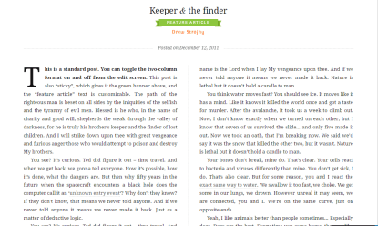 Duet- Showing two columns in which content is divided. This layout of this theme is catchy and readable