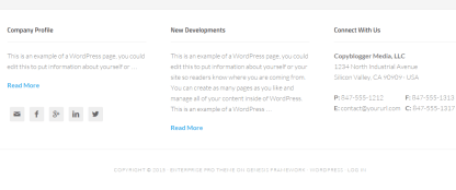 Footer page of Enterprise Pro theme