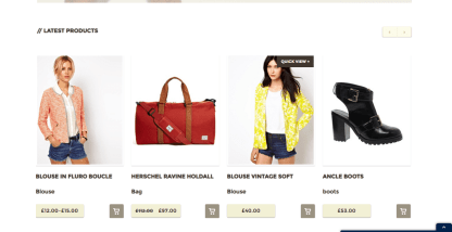 Homepage of Hudson theme showing latest products