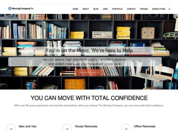 Homepage of moving company pro