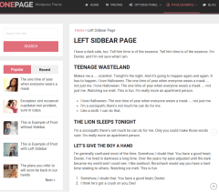 Left-sidebar-Onepage-WordPress-theme