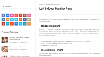 Left sidebar parallax page of business