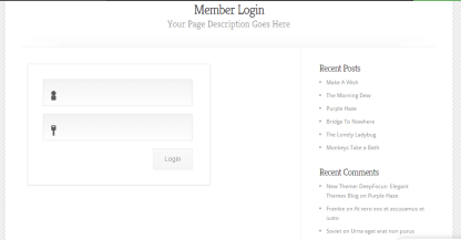 Member login page template of Chameleon theme