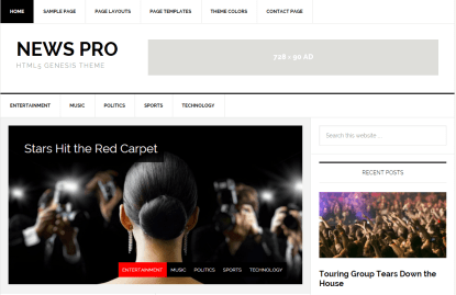 News Pro- Front Page of this theme showing two navigation bars and ad widget
