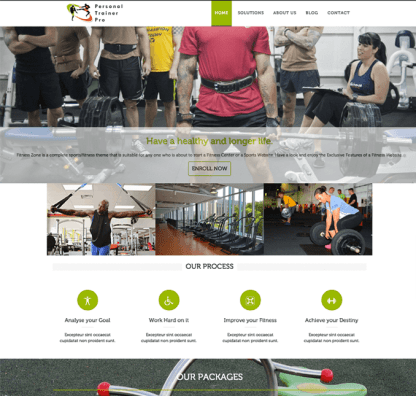 Homepage for Personal trainer Pro
