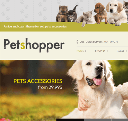 Petshopper- Ecommerce theme for pets products